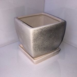 Black and white herb pot